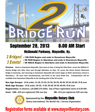 For registration form click here: 2013 2 Bridge Run Entry Form