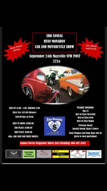 3rd Annual Ryan Monahon Car & Motorcycle Show @ VFW Post 2734  | Maysville | Kentucky | United States
