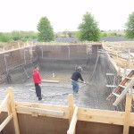 Dive pool spraying gunite 514