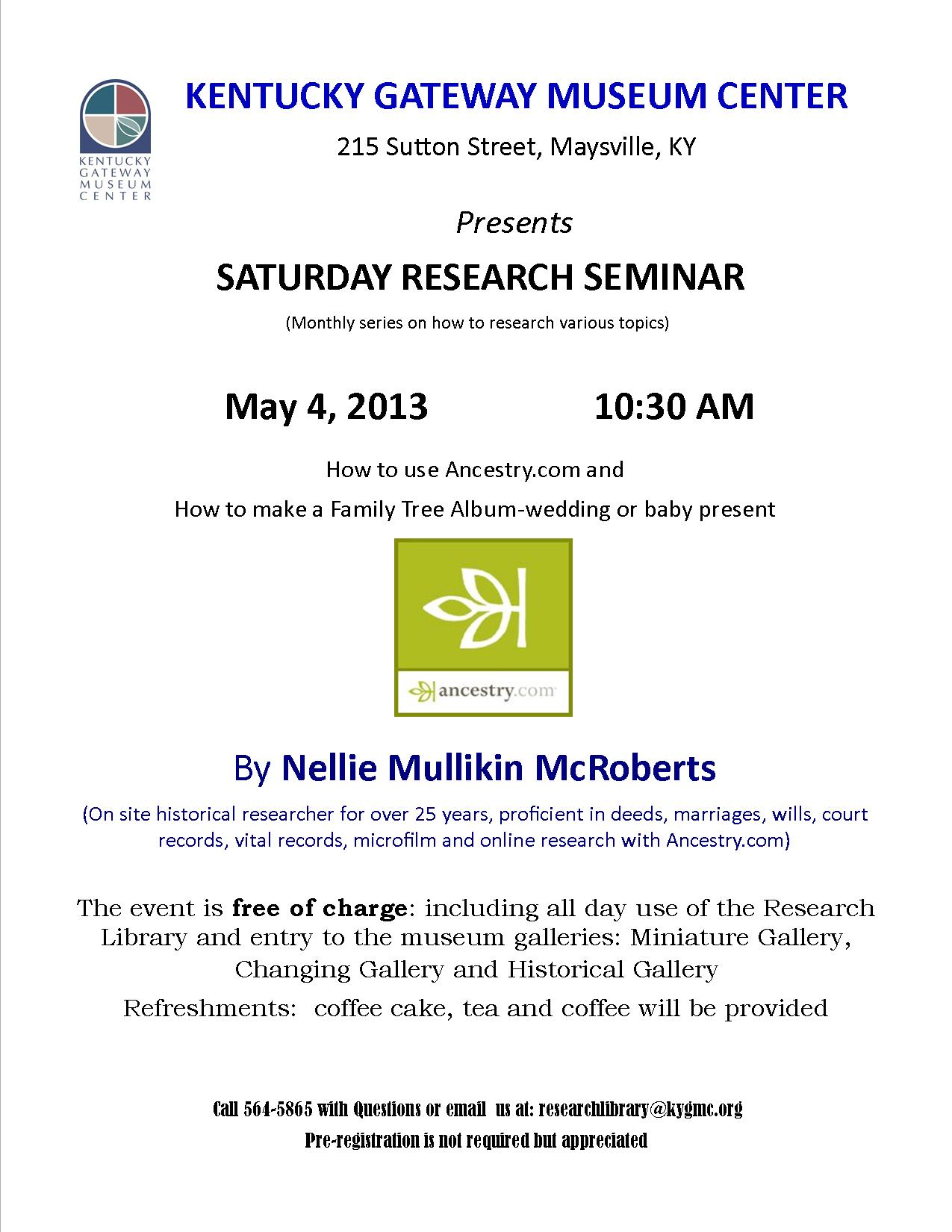 Kentucky Gateway Museum Center – Presents Saturday Research Seminar