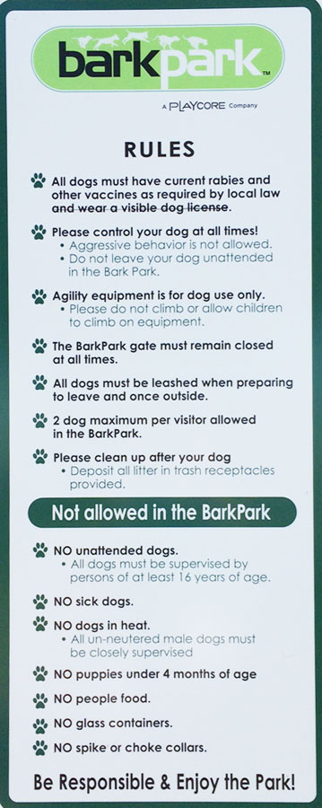 barkpark rules