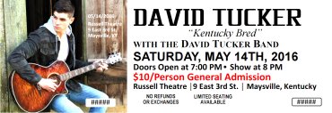 David Tucker in Concert @ The Russell Theare | Maysville | Kentucky | United States