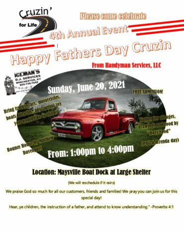 4th Annual Happy Father's Day Cruzin' @ Maysville River Park Shelter House