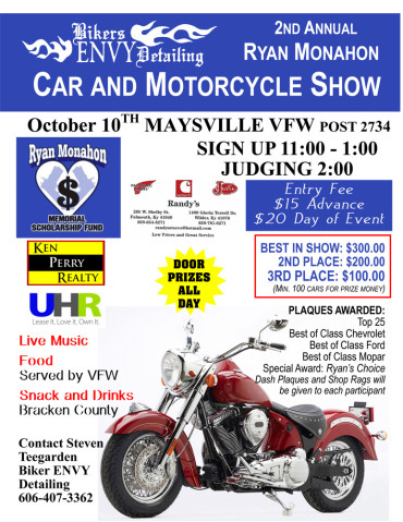 2nd Annual Ryan Monahon Car and Motorcycle Show @ Maysville VFW post 2734   Maysville   Kentucky   United States